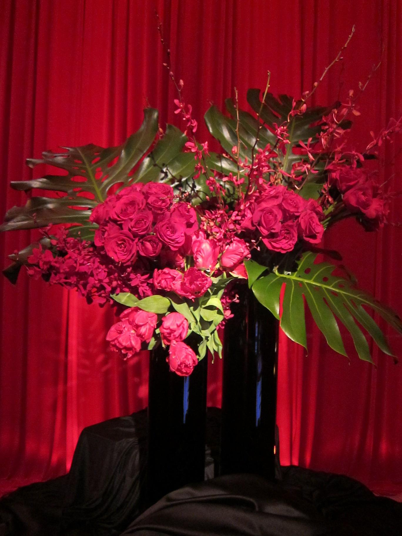 Red Flower Collection Black Vase
