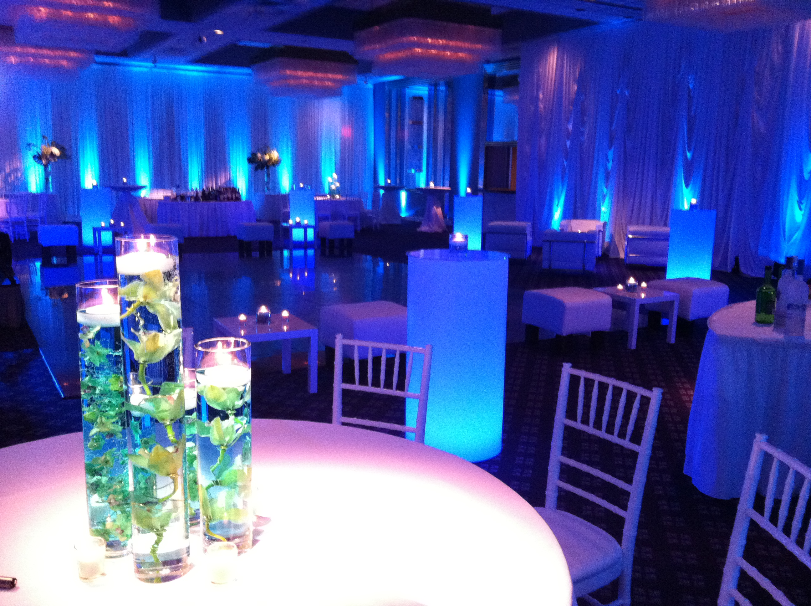 Blue and Green Light up Tables
