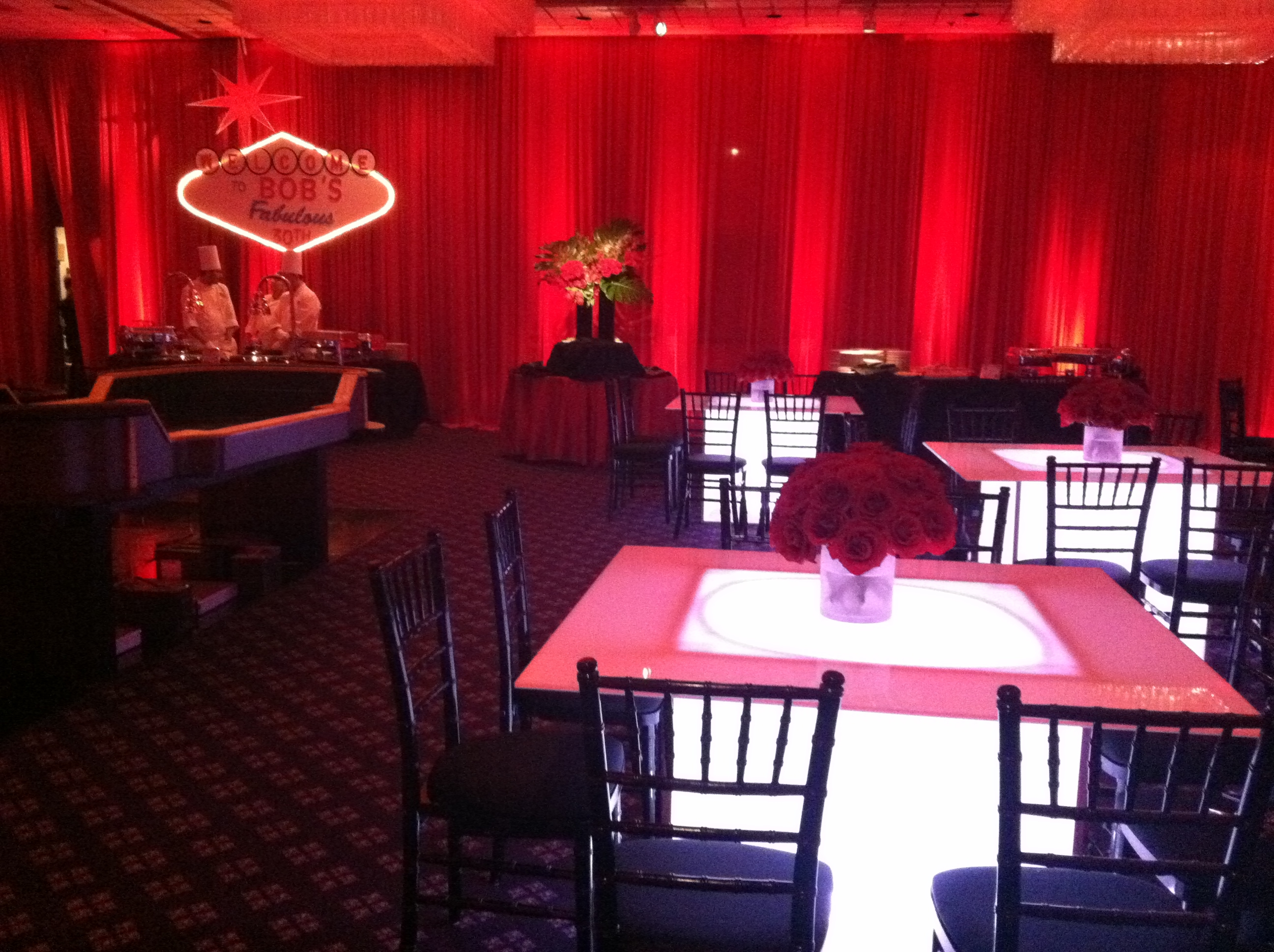 Casino Party Lightup Tables Red Rose