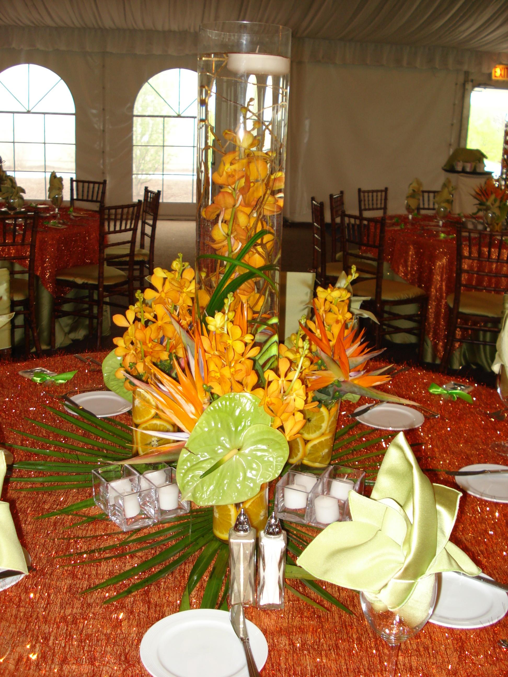 Tropical Centerpiece Orange & Green