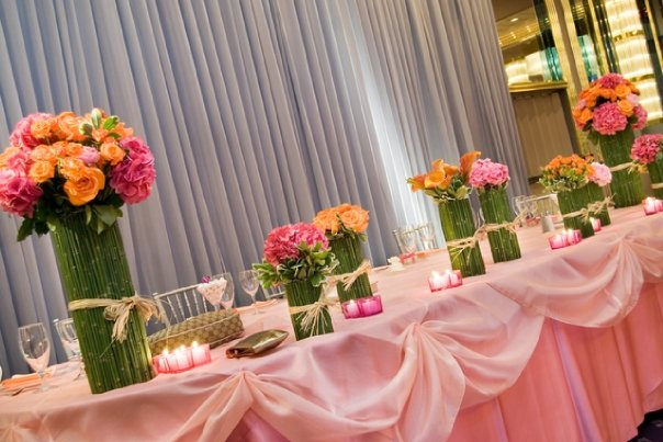Pink & Orange Flowers Bamboo Vase