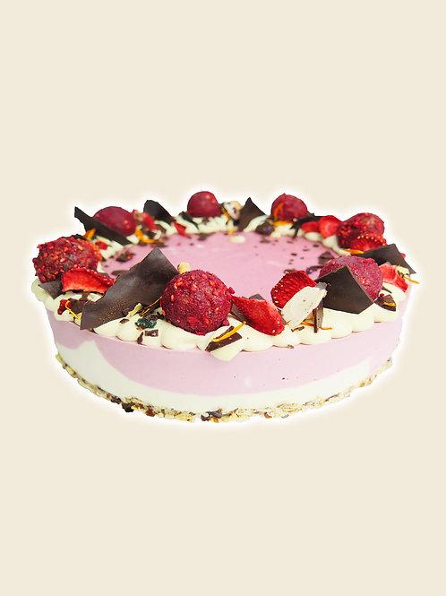 Large Strawberries & Cream Raw Cake