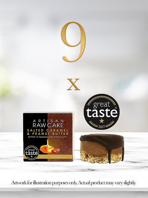 9 x Salted Caramel & Peanut Butter Raw Cake | Dipped in Raw Chocolate