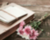Antique book with flowers