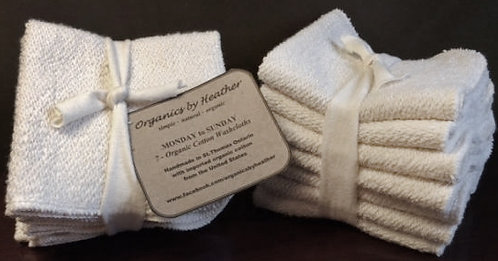 Set of 7- 100% ORGANIC WASHCLOTHS (Monday to Sunday)