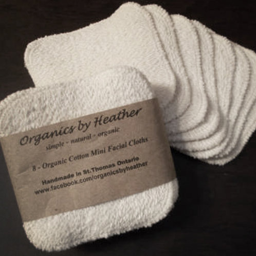 Set of 8 - 100% ORGANIC MINI FACIAL CLOTHS