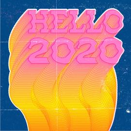 Hello 2020 - typographic illustration