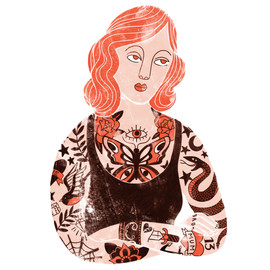Tattooed Lady - textured illustration