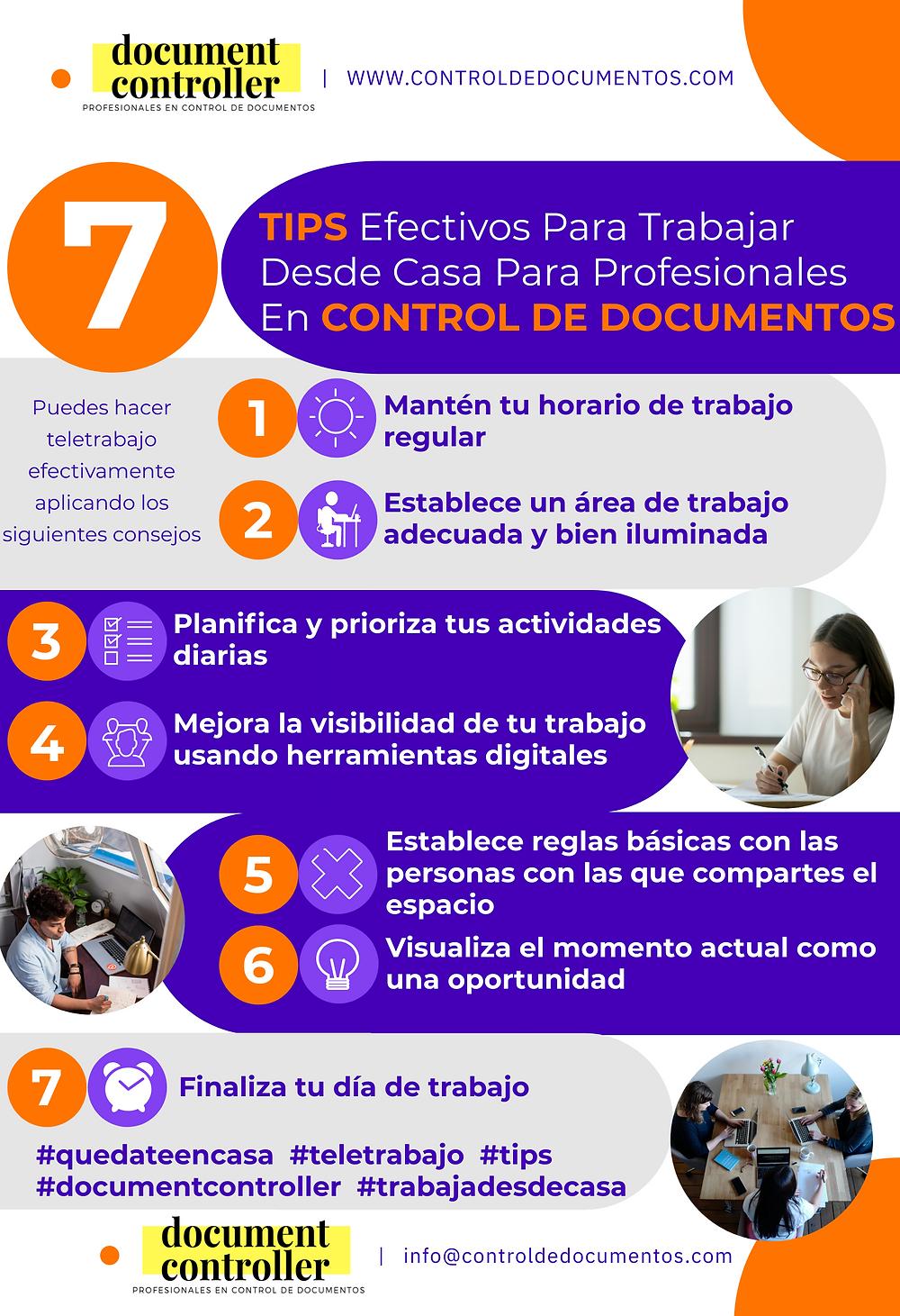 infografia, tips para trabajar desde casa control de documentos