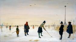 Kolfspelers op het ijs