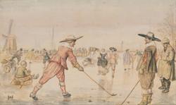 Winterlandschap met twee golfspelers