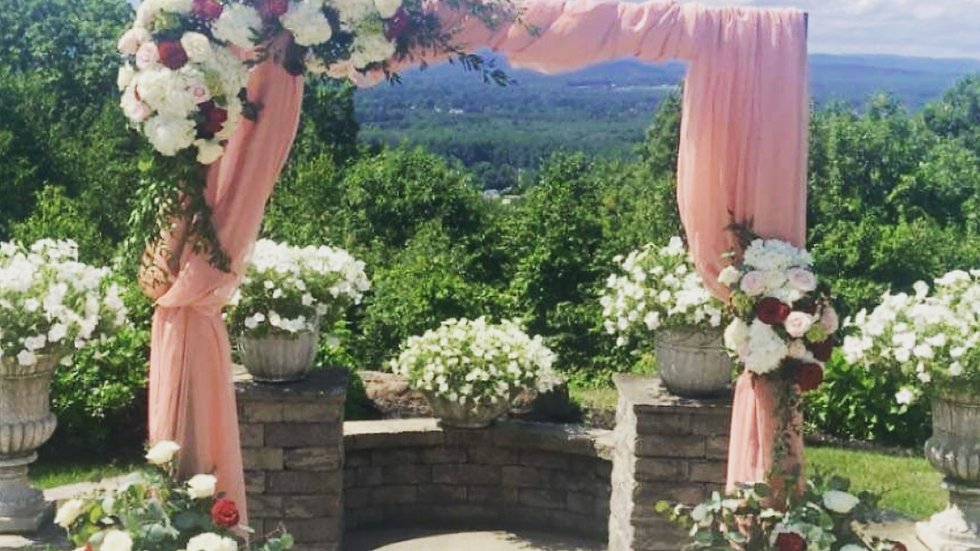 Wooden Arch with Drape Swag