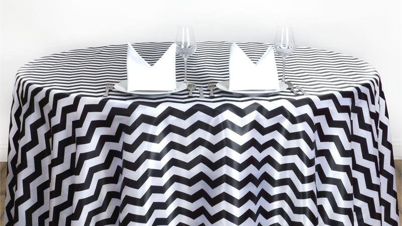 Black and White Chevron Linen Rental