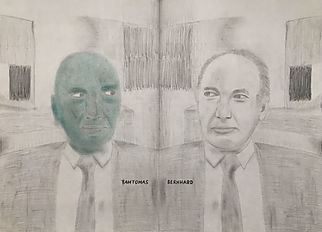 """fantomas bernhard"", pencil/oil pastels on cardboard, 74x54cm, 2018"
