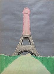 """""""eichelturm"""", oil pastels/acrylic on paper, 70x50cm, 2015"""