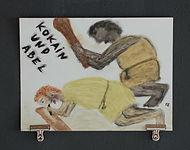 """""""kokain und abel"""", oil pastels on paper, 30x40cm, 2015"""