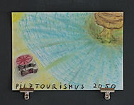 """pilztourismus 2050"", oil pastels on paper, 30x40cm, 2015"