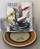 """""""schaut aus wie kunst (aufsteller version)"""", mixed on cardboard on plate, 25x25x20cm, 2019"""