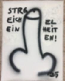 """""""Strg.Eicheleinheiten"""", Spray on Canvas, 130x90cm, 2019"""