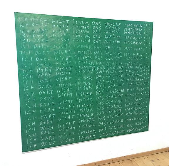 """🔴 """"ich darf nicht immer..."""" / öl und kreide auf leinwand, 180x160cm, 2017"""