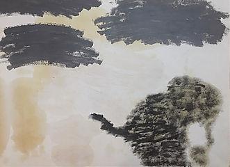 """""""Das schwarze Schaf (sieht aus wie ein Elefant)"""", mixed on paper, 60x80cm, 2019"""