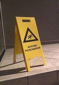 "🔴 ""achtung putschgefahr"", plastic sign, 25x40x60cm, 2015"
