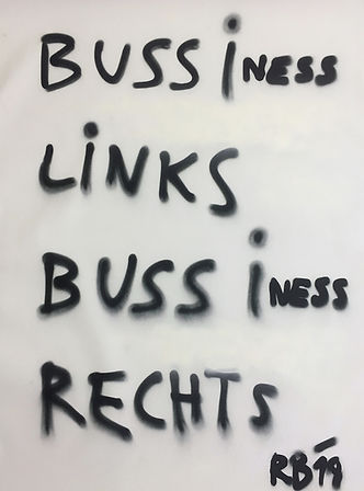"""bussiness..."", spray on canvas, 90x130cm, 2019"