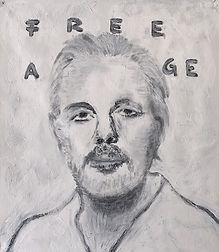 """FREE ASSANGE!"", acrylic on canvas, 65x55cm, 2021"