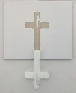 """Neutralkreuz"", Glue on/off canvas, 70x60cm, 2019"