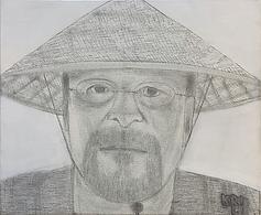 """kri li (my first collector)"", pencil/oil on canvas, 50x60cm, 2021"