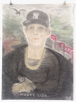 """money lisa"", oil pastels on paper, 60x80cm, 2015"