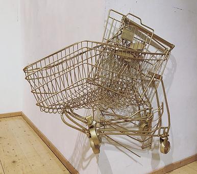 """🔴 """"flachware"""", spray on shopping trolley, 80x100x15cm, 2016"""