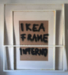 """ikea frame inferno"", spray/glue on frames, 110x100cm, 2017"