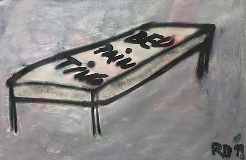 """bed painting"", mixed on canvas, 90x140cm, 2019"