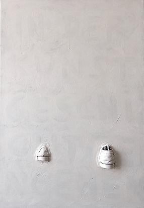 """""""In der Kunstgeschichte eingehen"""", Mixed on canvas, 100x70cm, 2016-2019"""