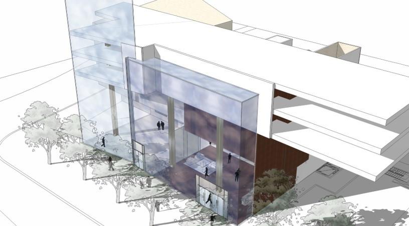 River Oaks best 3 story lobby rendering.