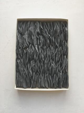 Dit is een doos met geverfde schijfjes klei, tegen elkaar aan gelegd. Ook dit is weer losdelig. Het formaat is circa 20 x 30 cm.