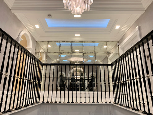 Antique Mirror Wall and feature ceiling