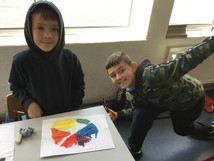 2nd class. Science- Experimenting with the colour wheel.