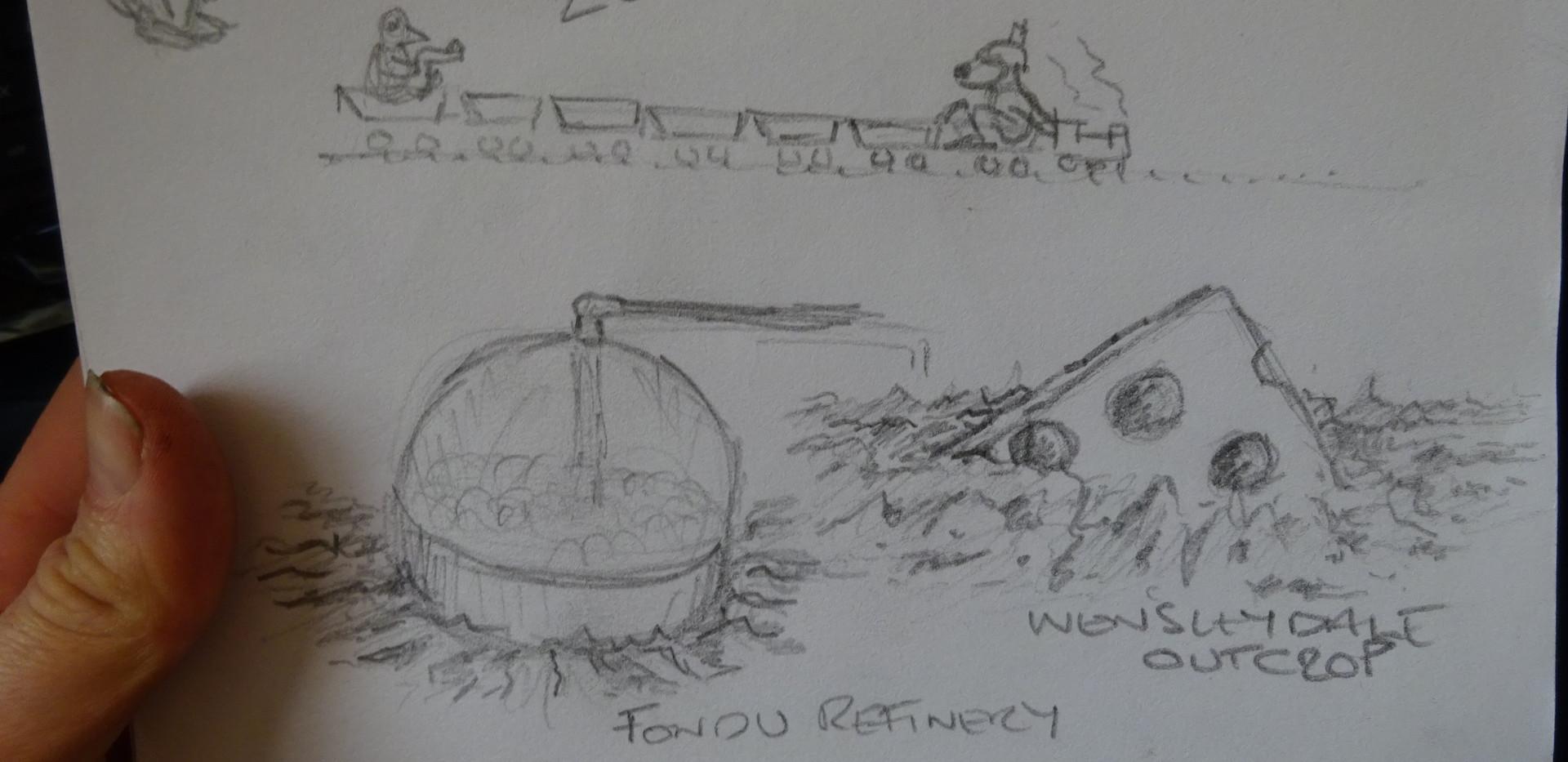 "Bubbling ""Cheese Fondu"" tank"
