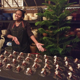 Ta Da!!!! April and plated dark chocolate tarts.