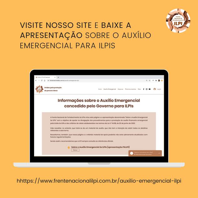 VISITE NOSSO SITE E BAIXE A APRESENTAÇÃO SOBRE O AUXÍLIO EMERGENCIAL PARA ILPIS