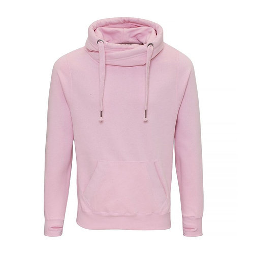 Cross Neck Hoodie with Stitched Logo