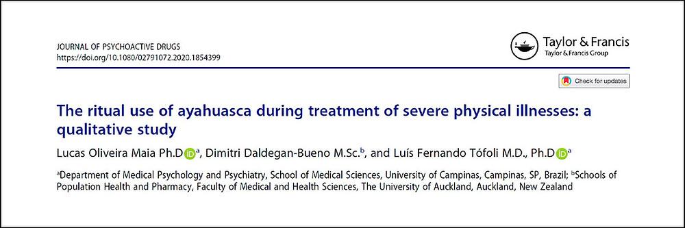 """Cabeçalho do estudo """"The ritual use of ayahuasca during treatment of severe physical illnesses: a qualitative study""""."""