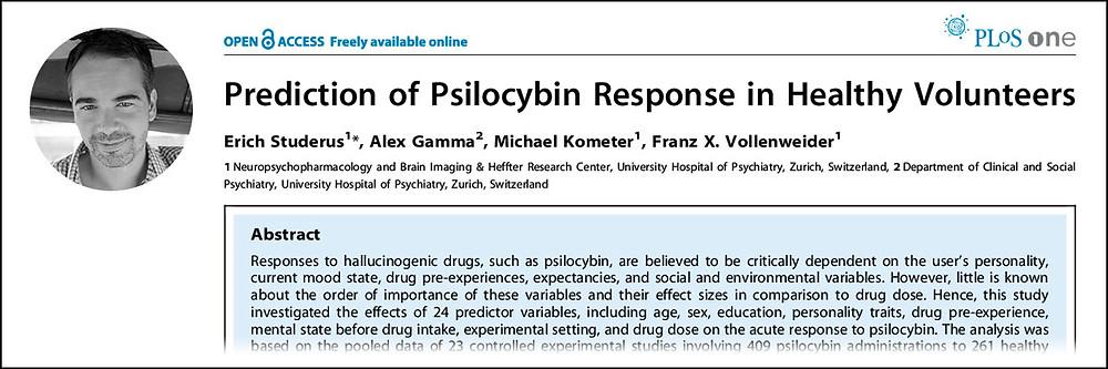 """Pesquisador Erich Studerus e o estudo """"Preditores da resposta da psilocibina em voluntários saudáveis"""" publicado no periódico Plos One."""