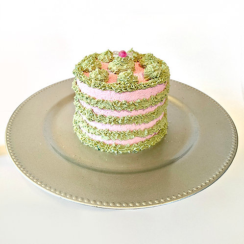 Retro Mini Cake Green & Pink with Charger