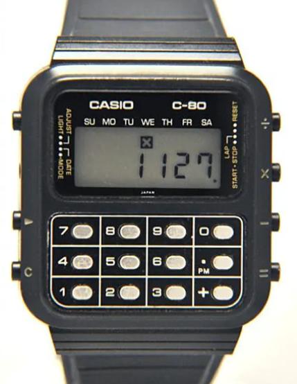 Evolution of smartwatch - Casio C-80 Calculator Watch (Year: 1980)