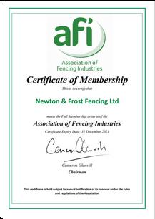 AFI Certificate - Expires 31.12.2021