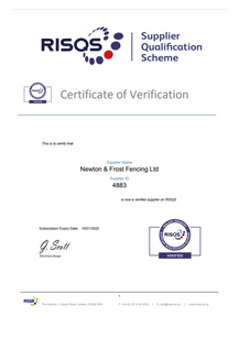 RISQS Verification Certificate 2022