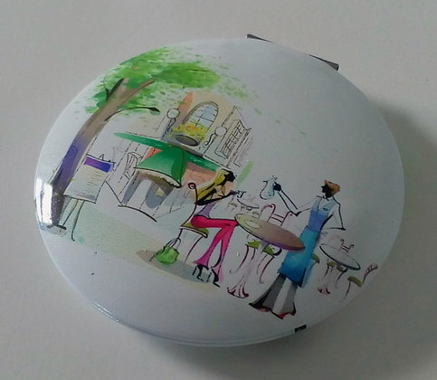 Compact Mirror Lady with Cafe Waiter E